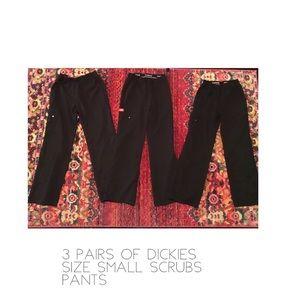 Three (3 pairs) of dickies size small scrubs black